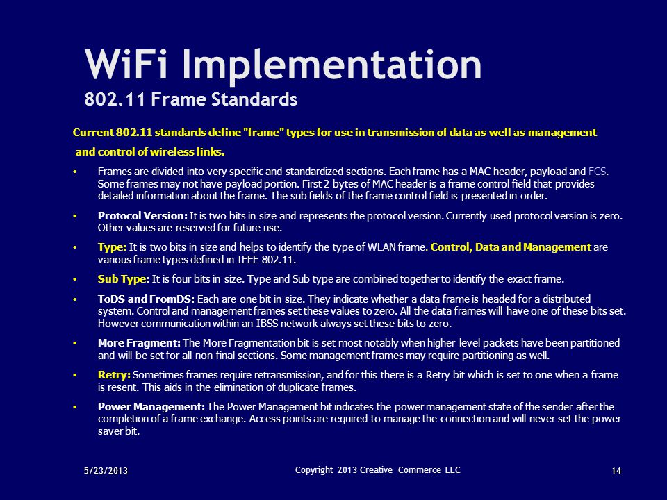 WiFi Implementation 802.11 Frame Standards