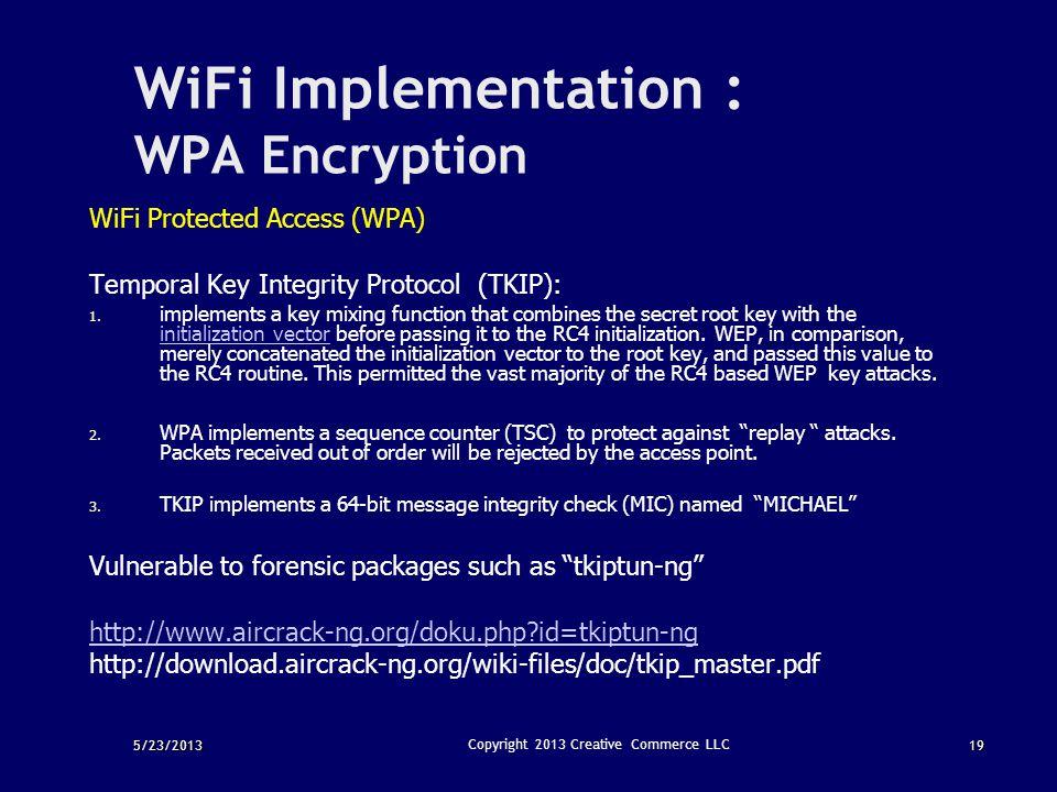 WiFi Implementation : WPA Encryption