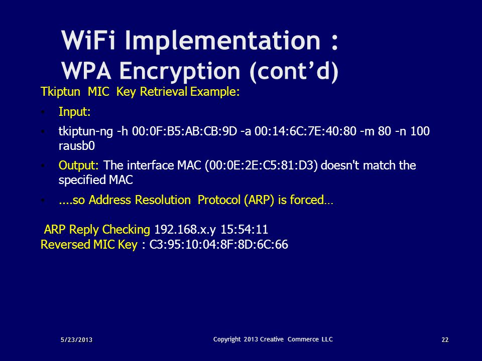 WiFi Implementation : WPA Encryption (cont'd)