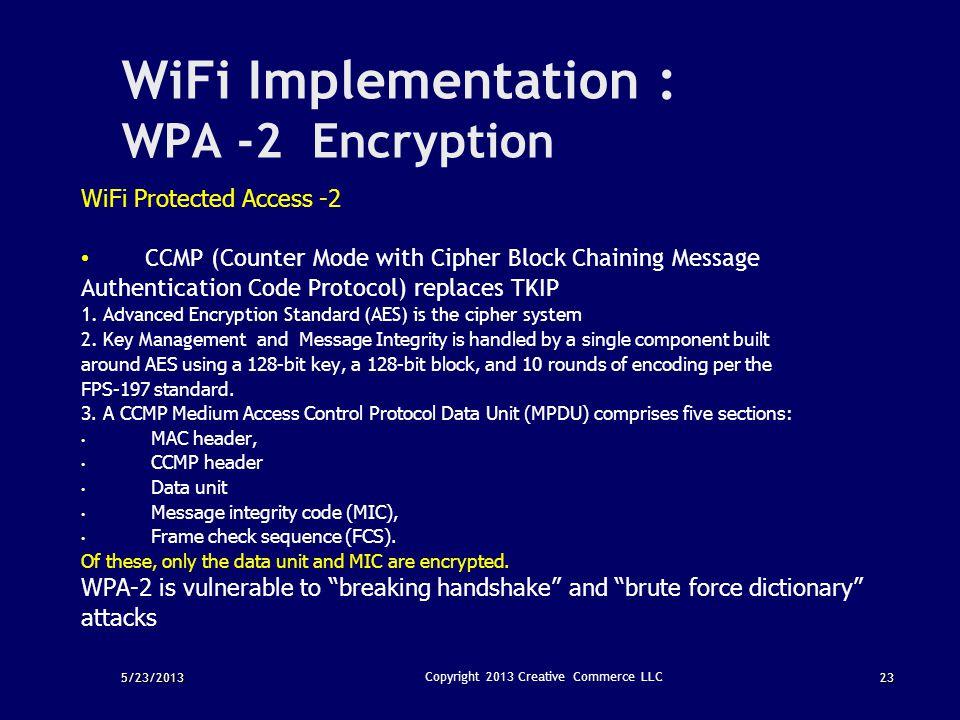 WiFi Implementation : WPA -2 Encryption