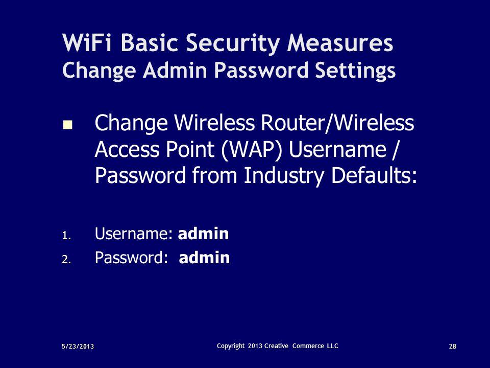 WiFi Basic Security Measures Change Admin Password Settings