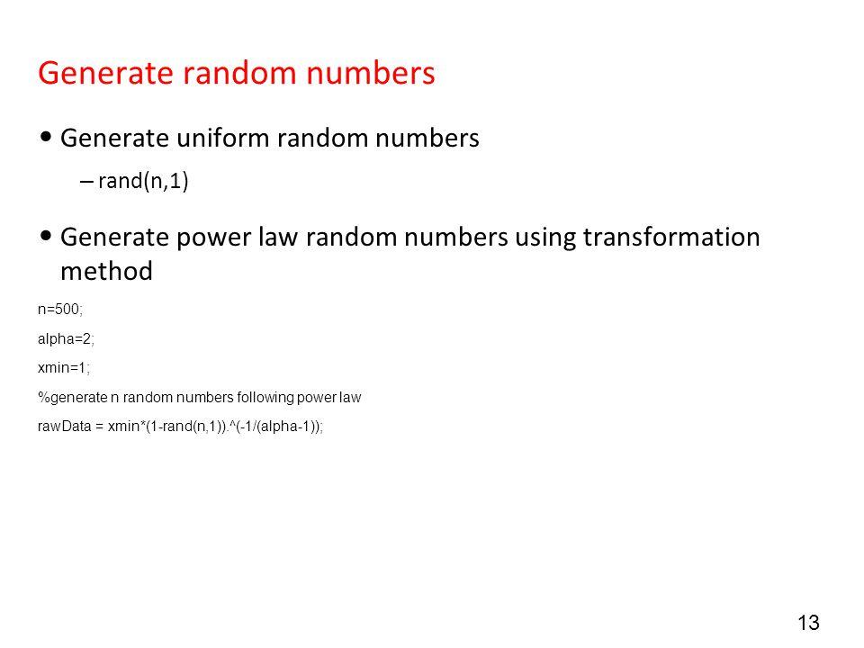 Generate random numbers