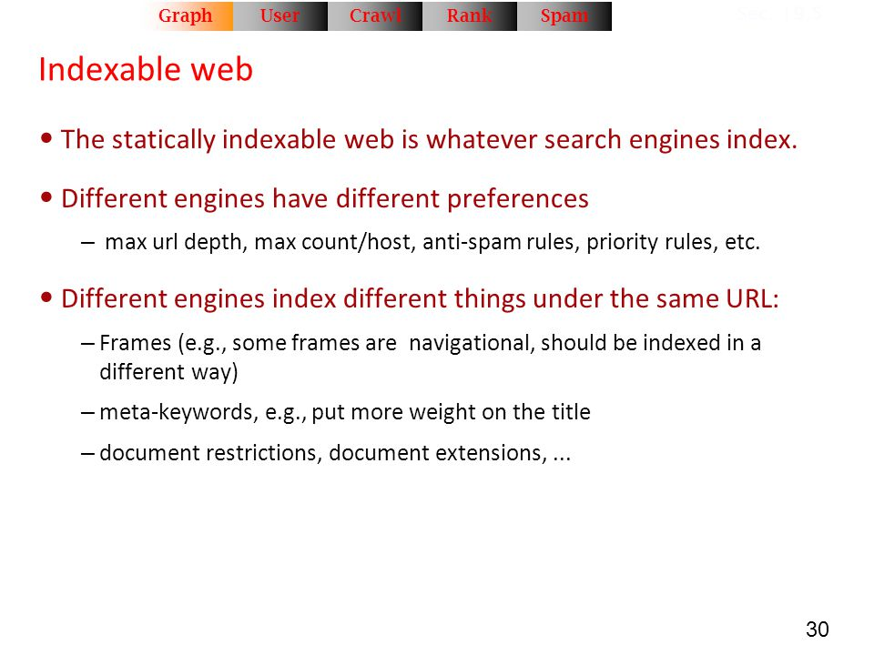 Rank Crawl. User. Graph. Spam. Sec. 19.5. Indexable web. The statically indexable web is whatever search engines index.