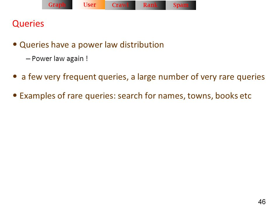 Queries Queries have a power law distribution