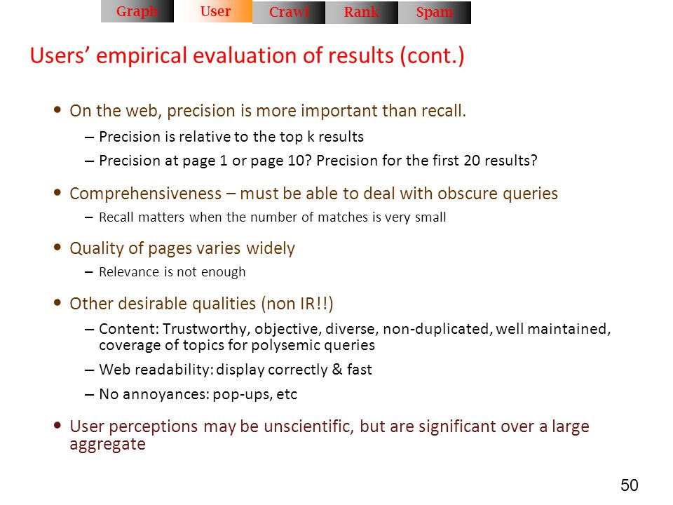 Users' empirical evaluation of results (cont.)