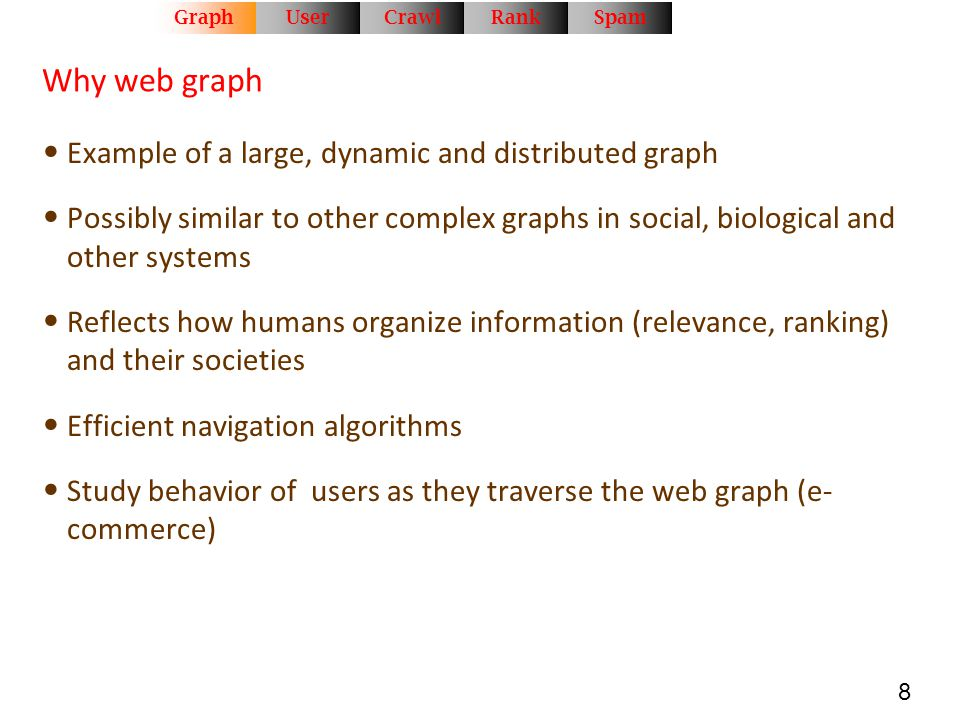 Why web graph Example of a large, dynamic and distributed graph