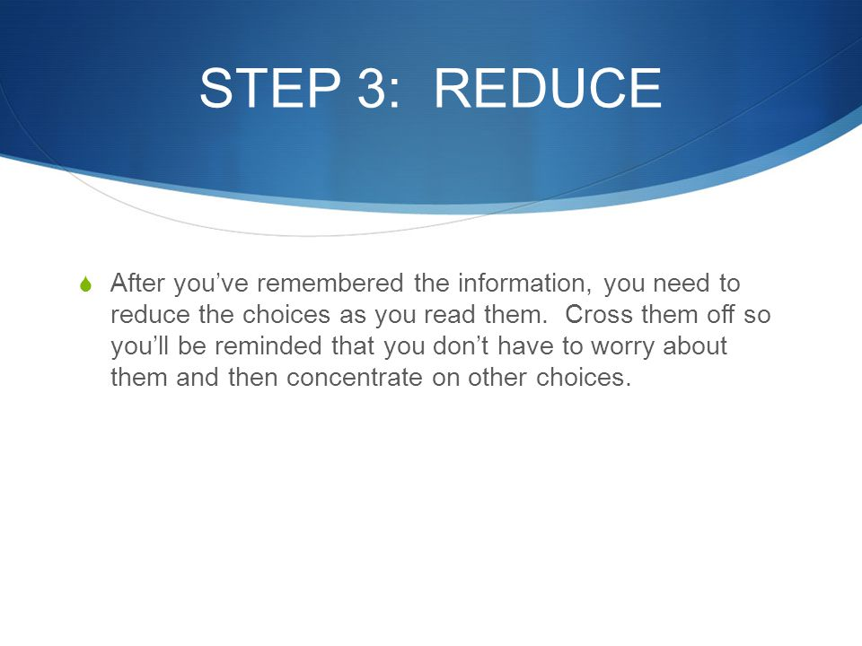 STEP 3: REDUCE