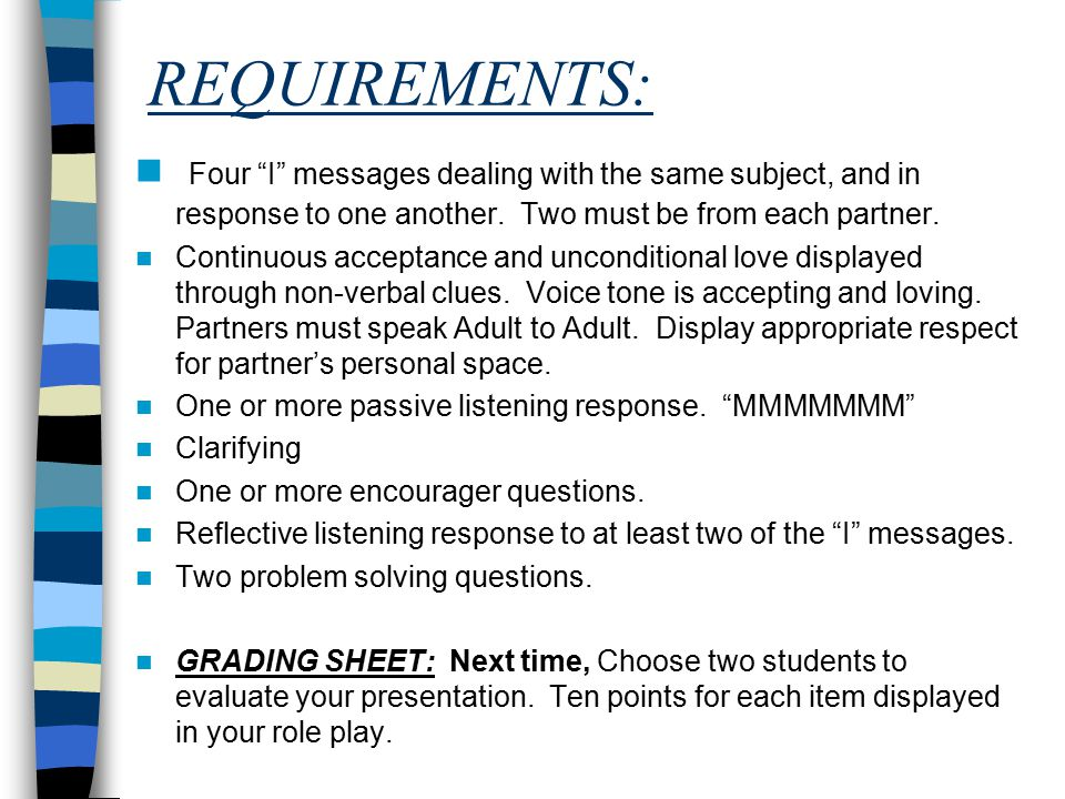 REQUIREMENTS: Four I messages dealing with the same subject, and in response to one another. Two must be from each partner.
