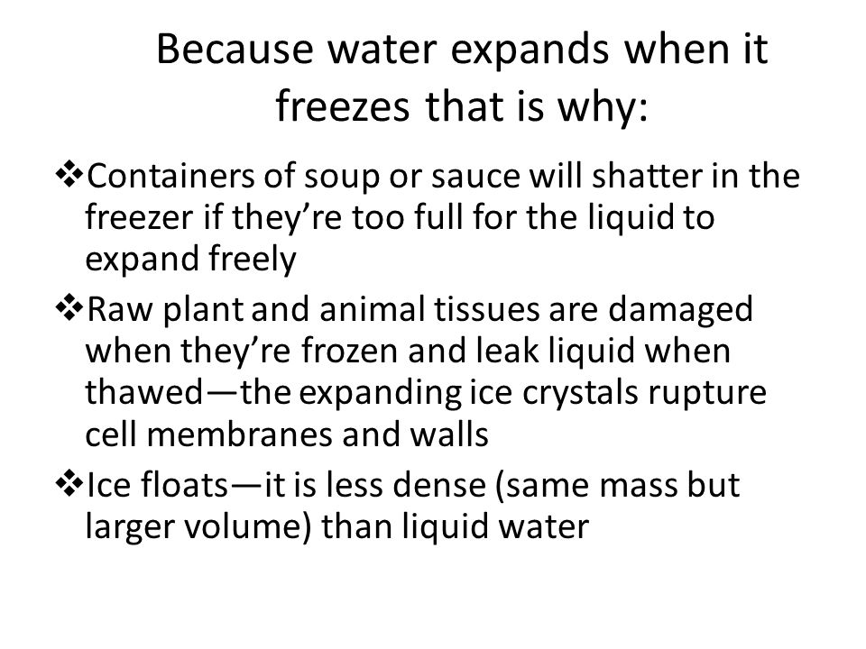 Because water expands when it freezes that is why:
