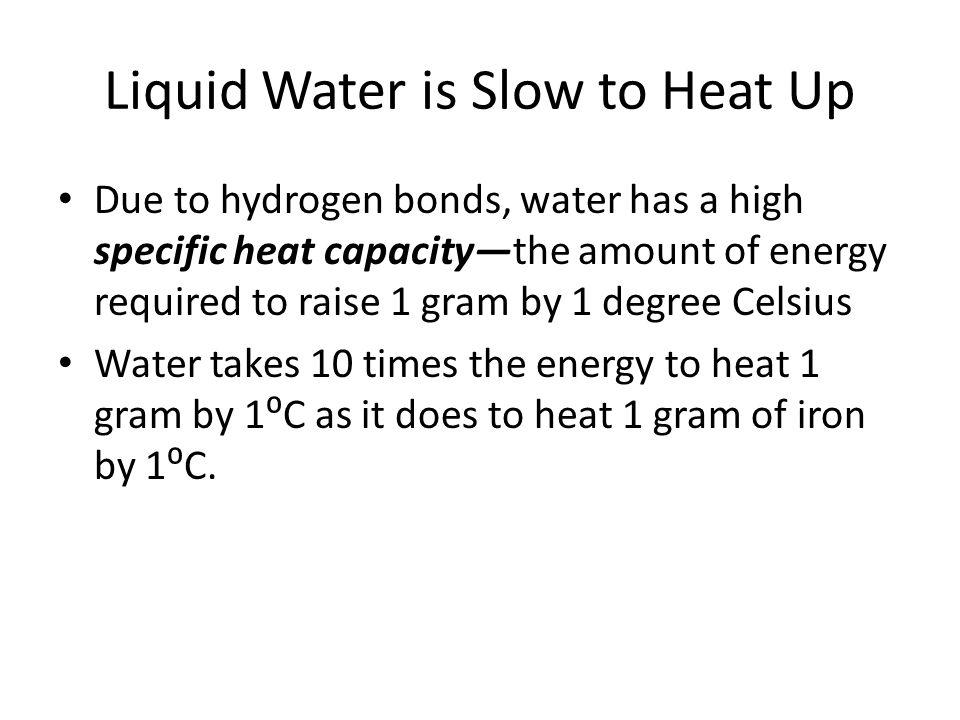 Liquid Water is Slow to Heat Up