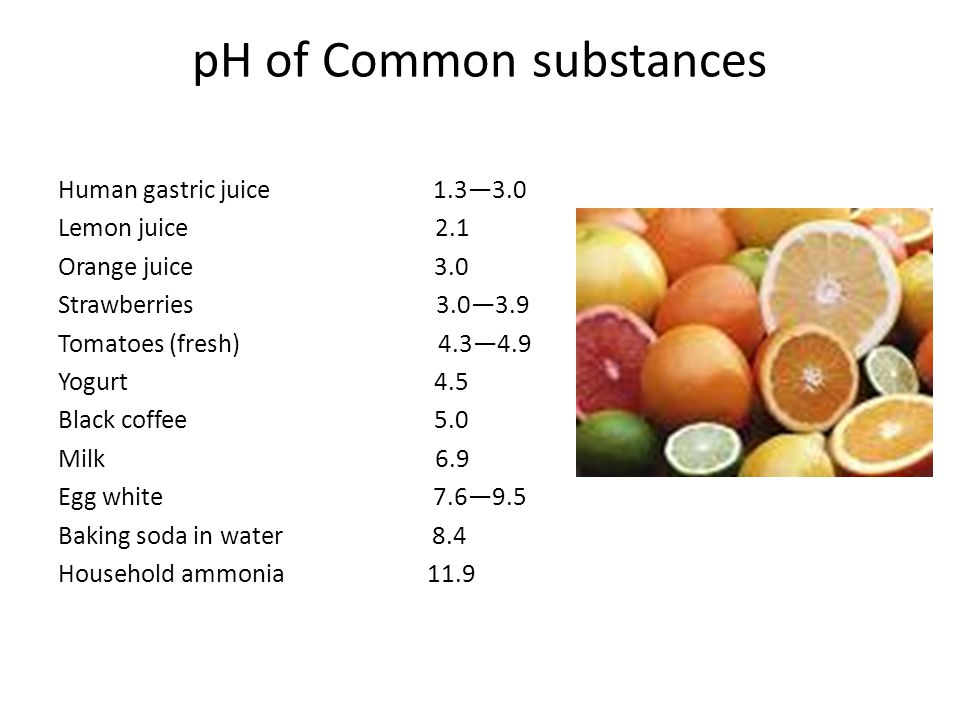 pH of Common substances