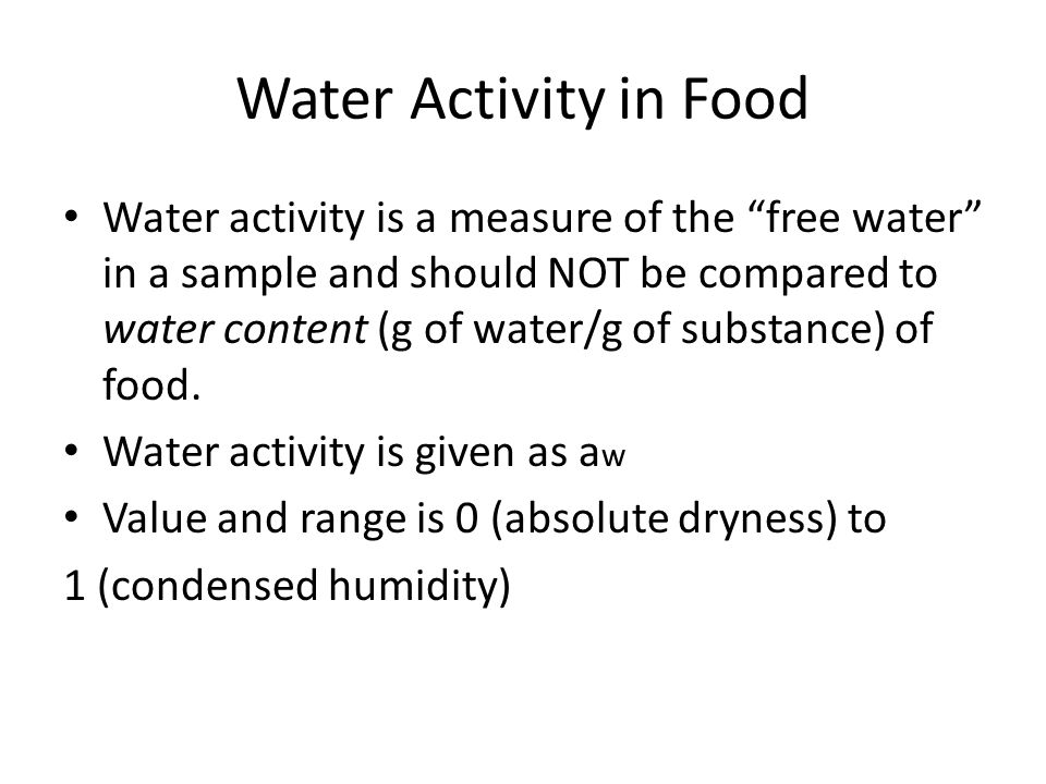 Water Activity in Food