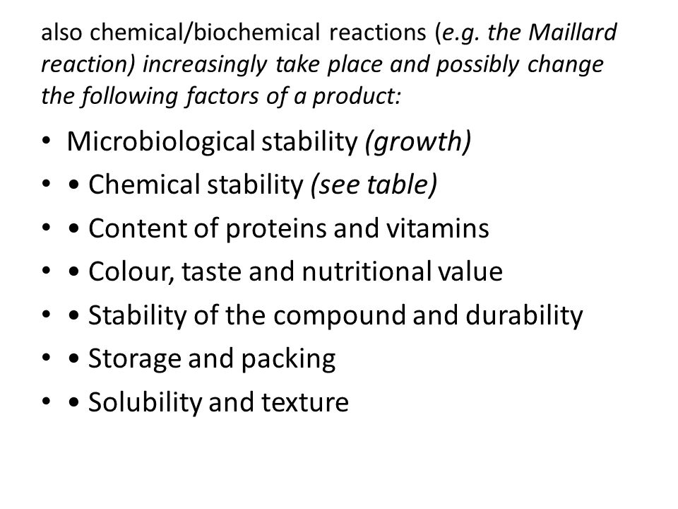 Microbiological stability (growth) • Chemical stability (see table)