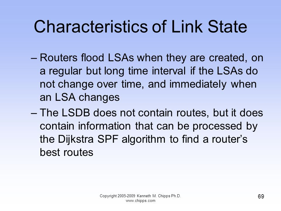 Characteristics of Link State