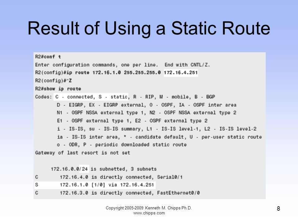 Result of Using a Static Route