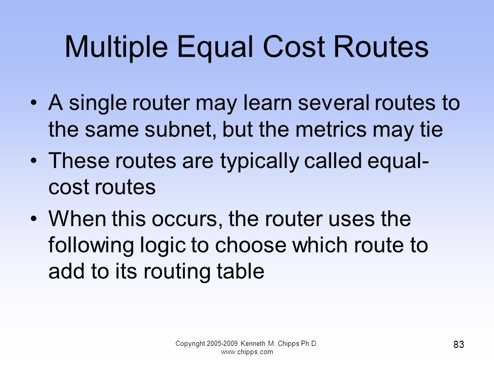 Multiple Equal Cost Routes