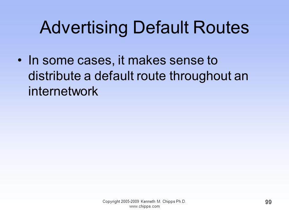 Advertising Default Routes