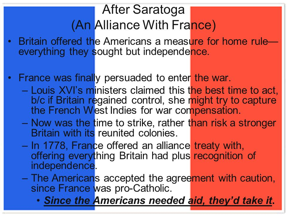 After Saratoga (An Alliance With France)