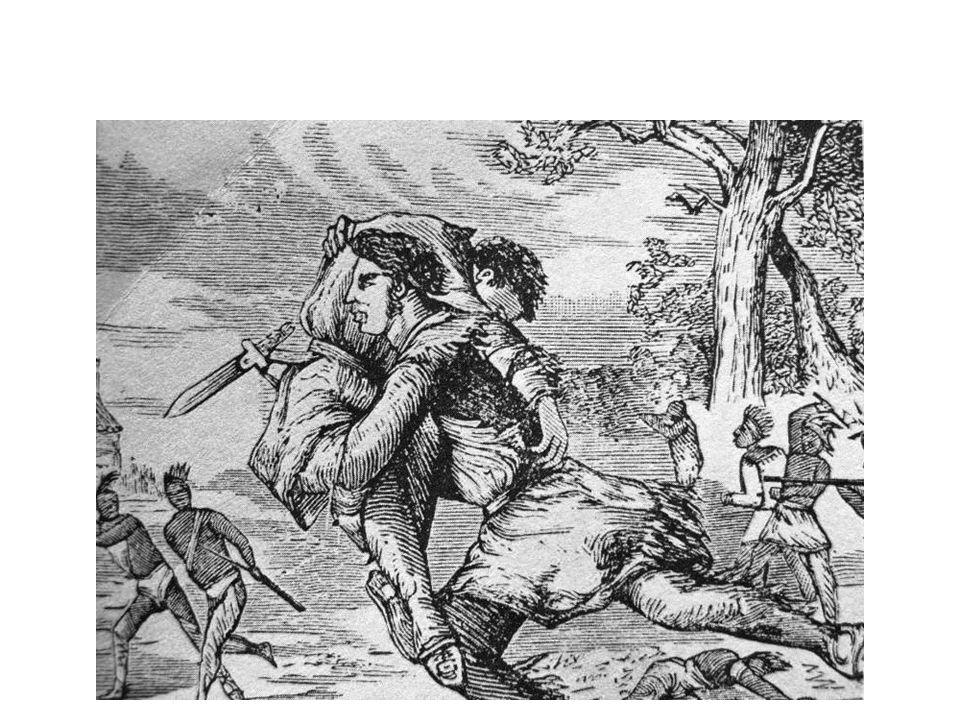 Simon Kenton saving Daniel Boone at the siege of Boonesboro April 24, 1777