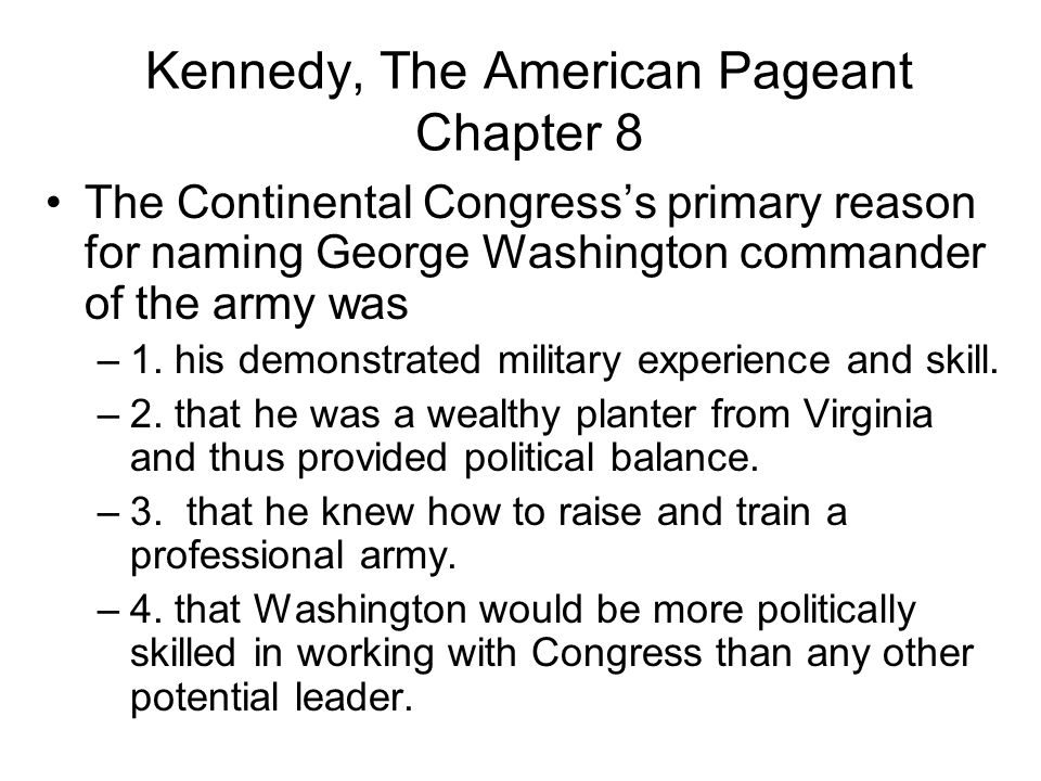 Kennedy, The American Pageant Chapter 8