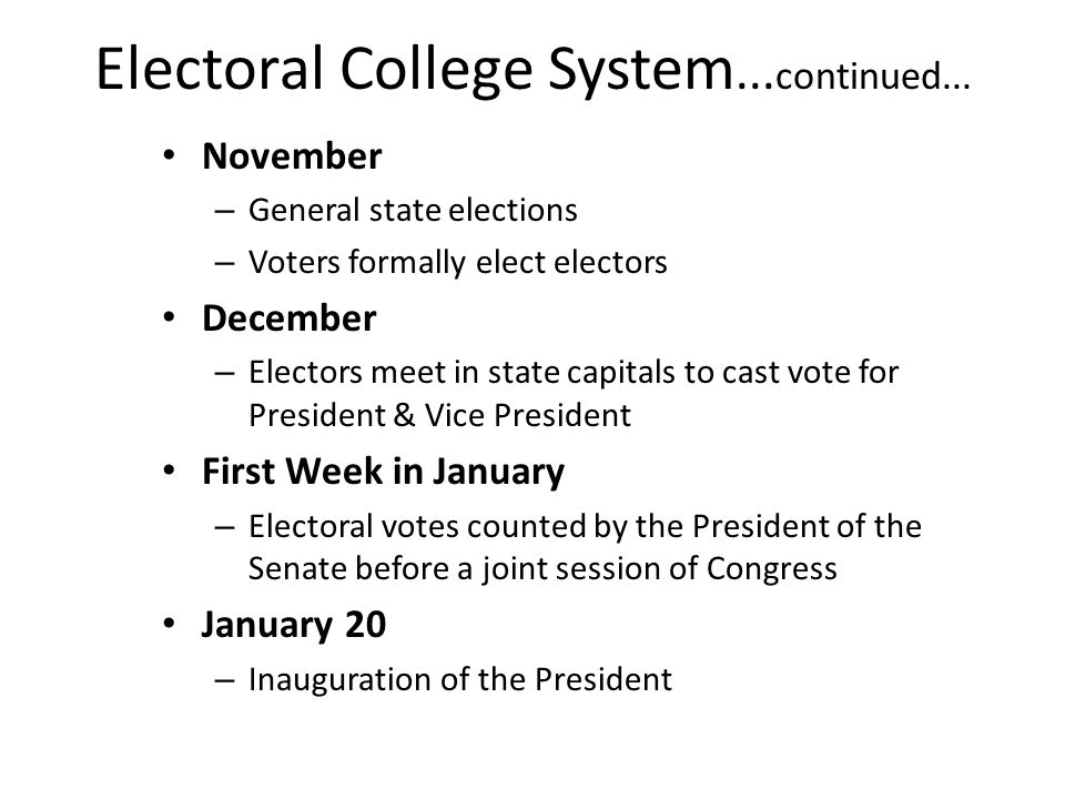 Electoral College System...continued...