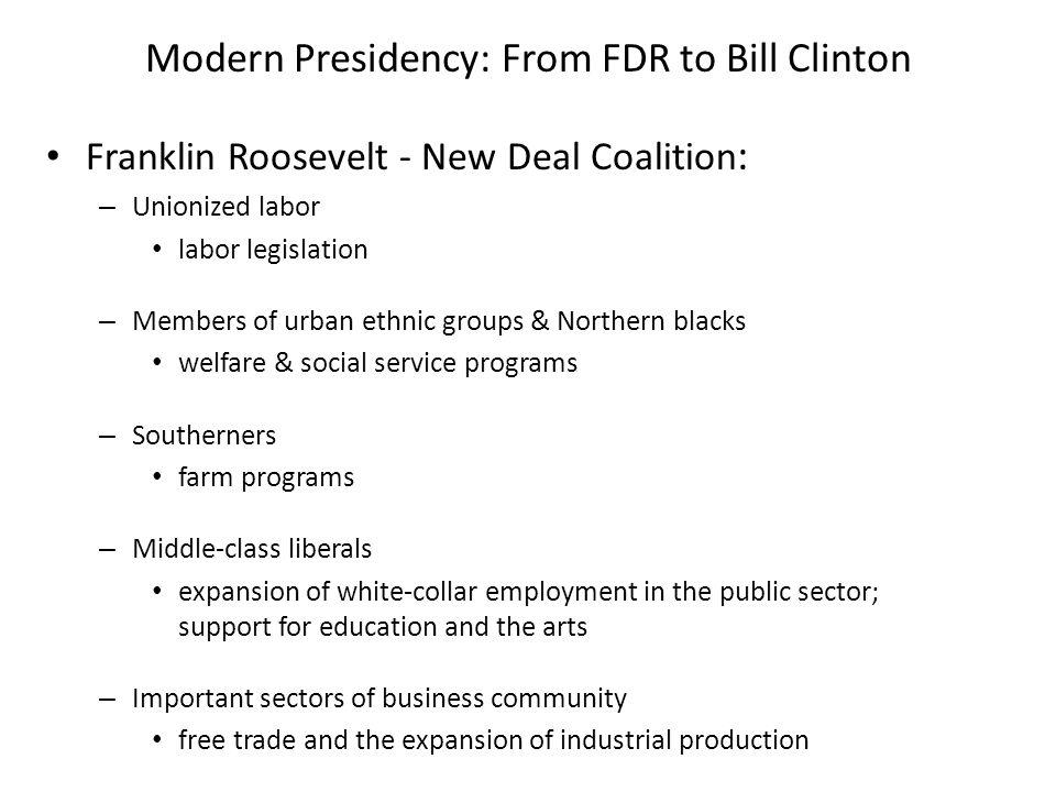 Modern Presidency: From FDR to Bill Clinton