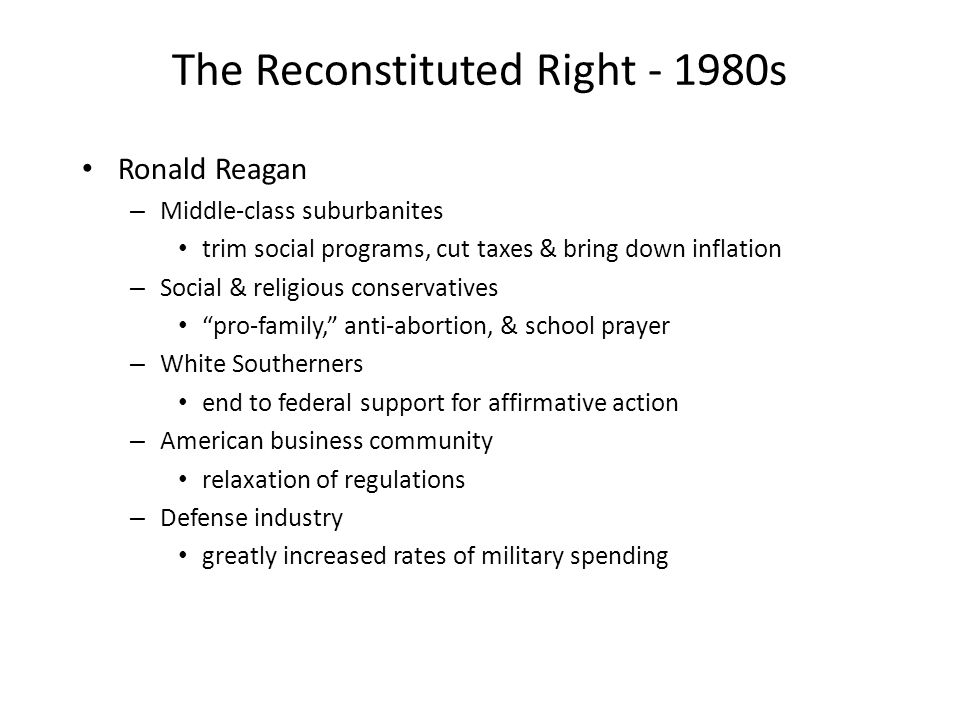 The Reconstituted Right - 1980s