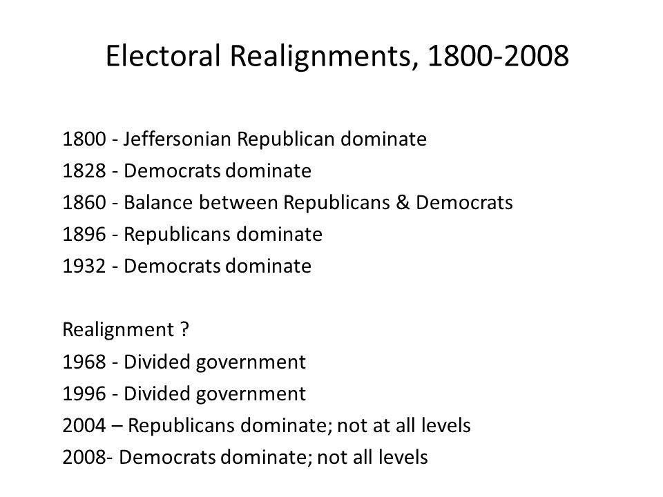 Electoral Realignments, 1800-2008