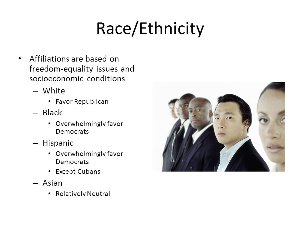 Race/Ethnicity Affiliations are based on freedom-equality issues and socioeconomic conditions. White.