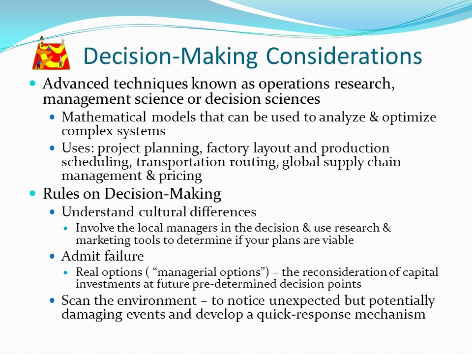Decision-Making Considerations