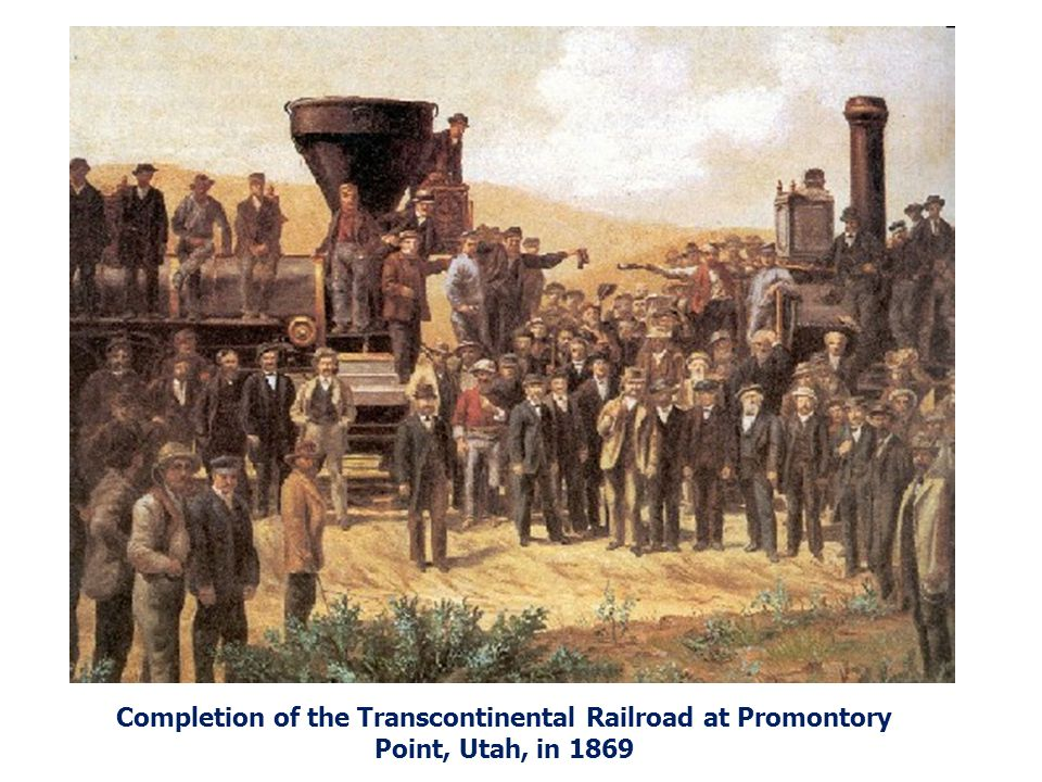 Completion of the Transcontinental Railroad at Promontory Point, Utah, in 1869