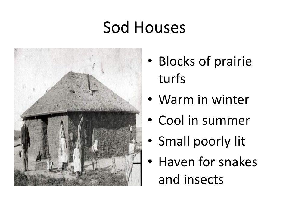 Sod Houses Blocks of prairie turfs Warm in winter Cool in summer