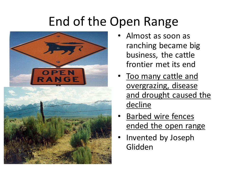 End of the Open Range Almost as soon as ranching became big business, the cattle frontier met its end.