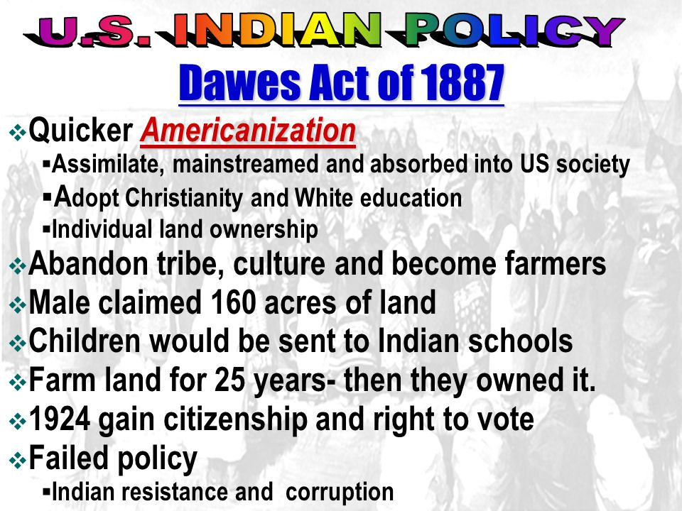 Dawes Act of 1887 U.S. INDIAN POLICY Quicker Americanization