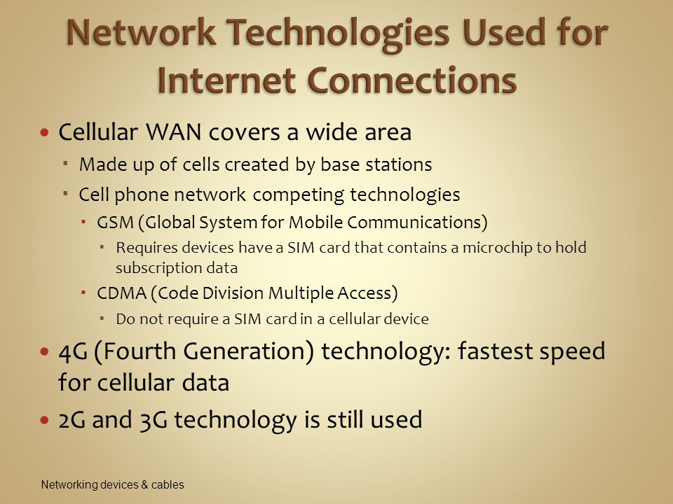 Network Technologies Used for Internet Connections