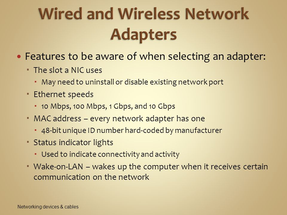 Wired and Wireless Network Adapters