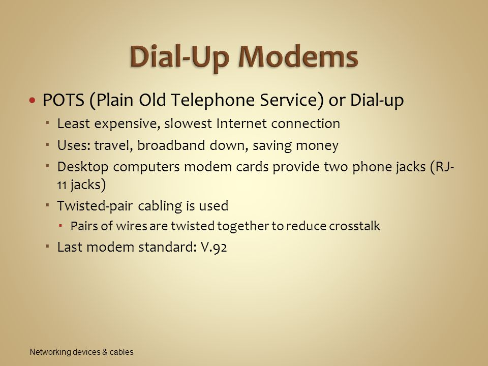 Dial-Up Modems POTS (Plain Old Telephone Service) or Dial-up