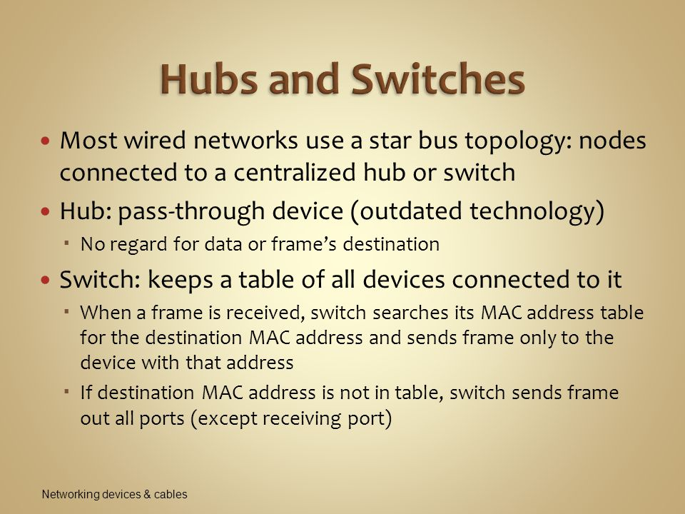 Hubs and Switches Most wired networks use a star bus topology: nodes connected to a centralized hub or switch.