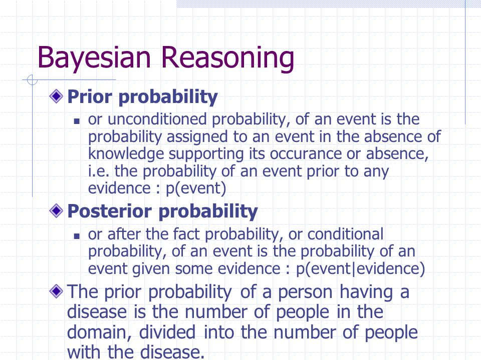 Bayesian Reasoning Prior probability Posterior probability