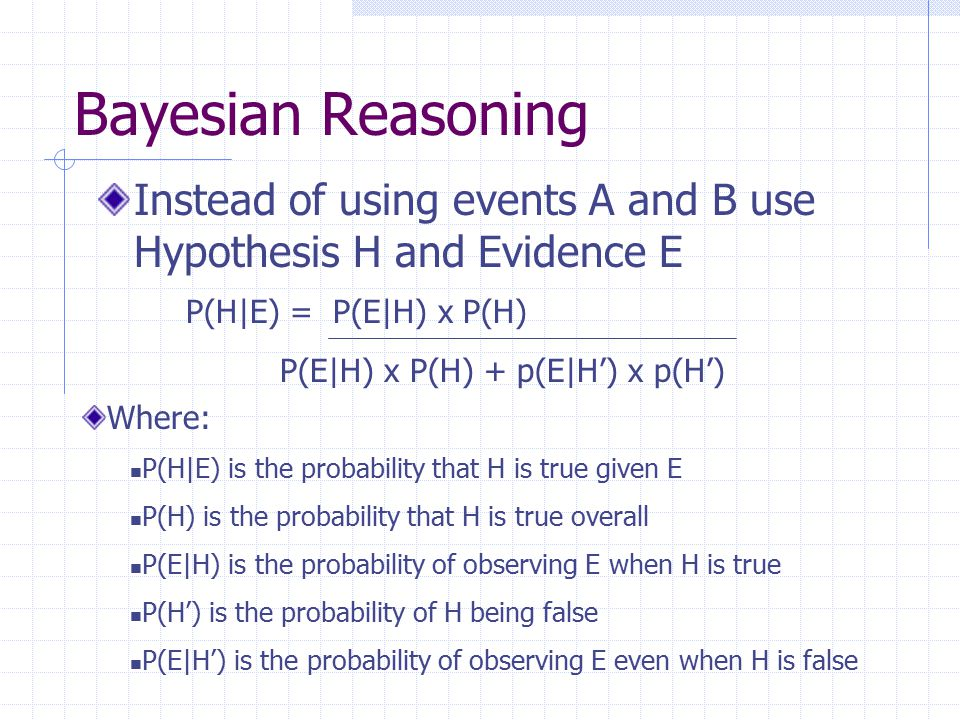 Bayesian Reasoning Instead of using events A and B use Hypothesis H and Evidence E. P(H|E) = P(E|H) x P(H)
