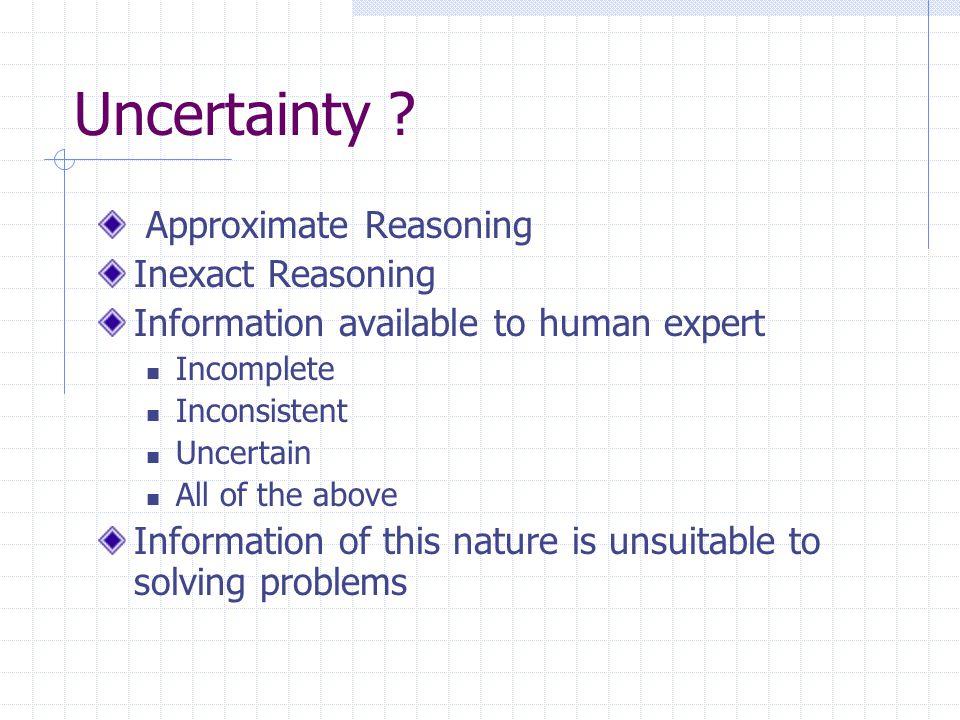 Uncertainty Approximate Reasoning Inexact Reasoning