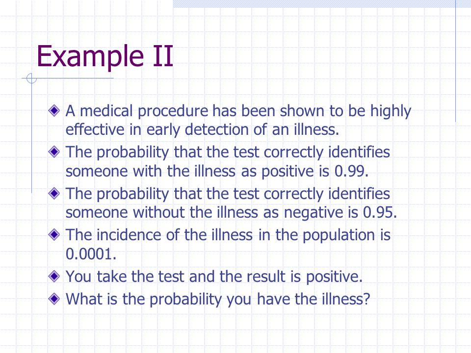 Example II A medical procedure has been shown to be highly effective in early detection of an illness.