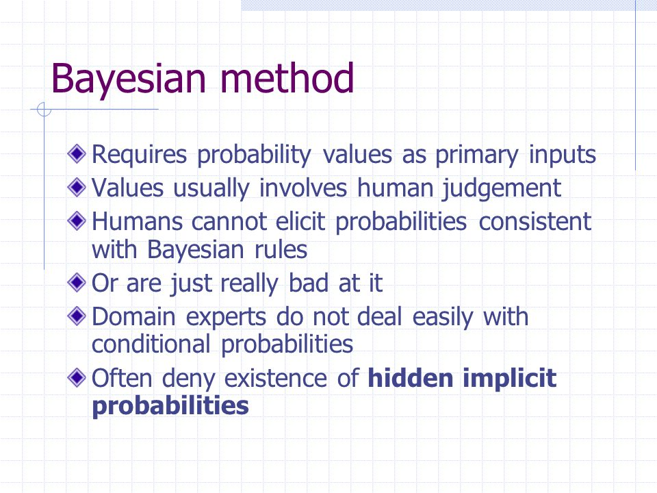 Bayesian method Requires probability values as primary inputs