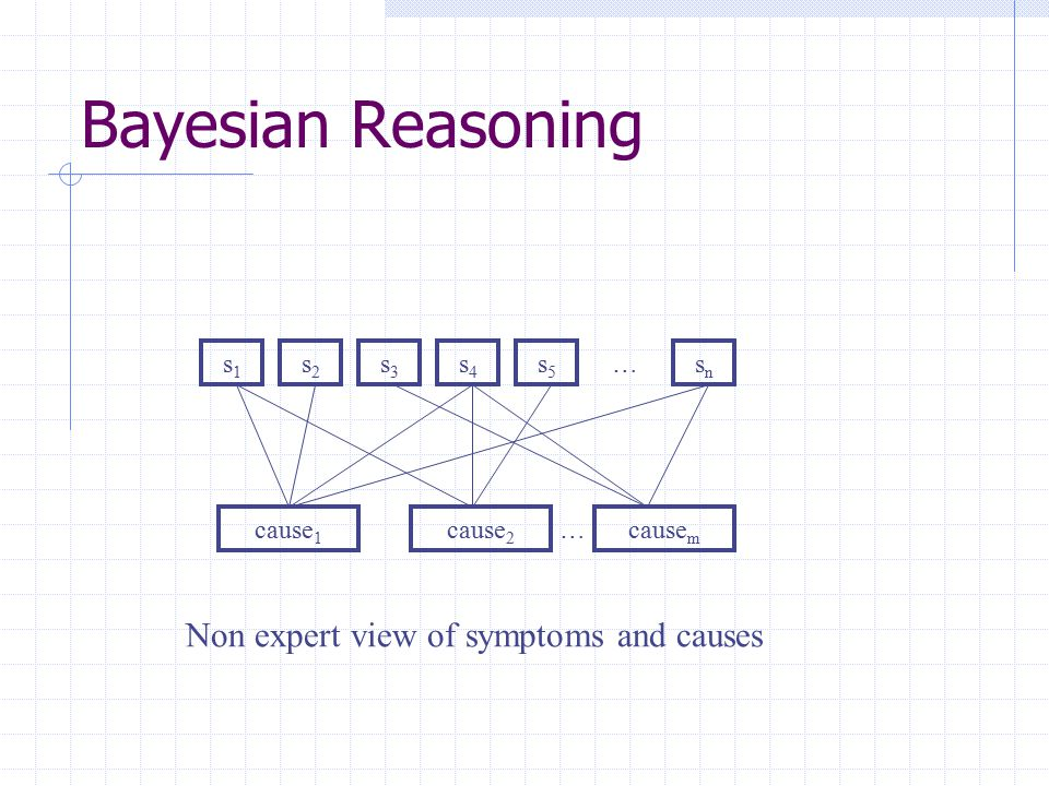 Bayesian Reasoning Non expert view of symptoms and causes s1 s2 s3 s4