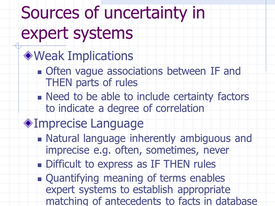 Sources of uncertainty in expert systems