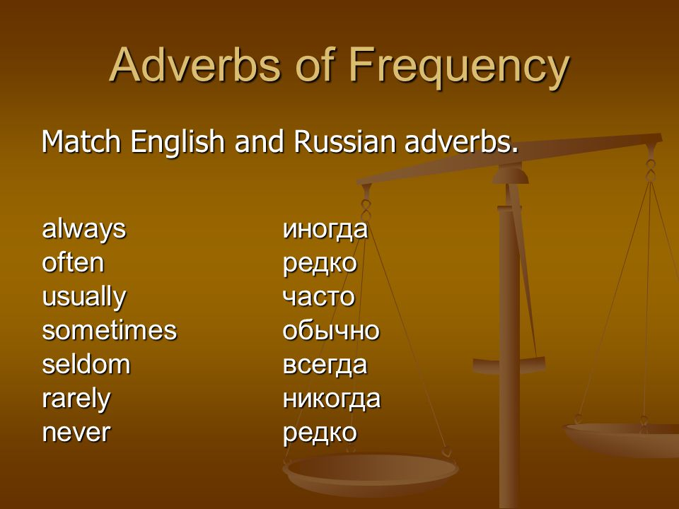 Adverbs of Frequency Match English and Russian adverbs. always often