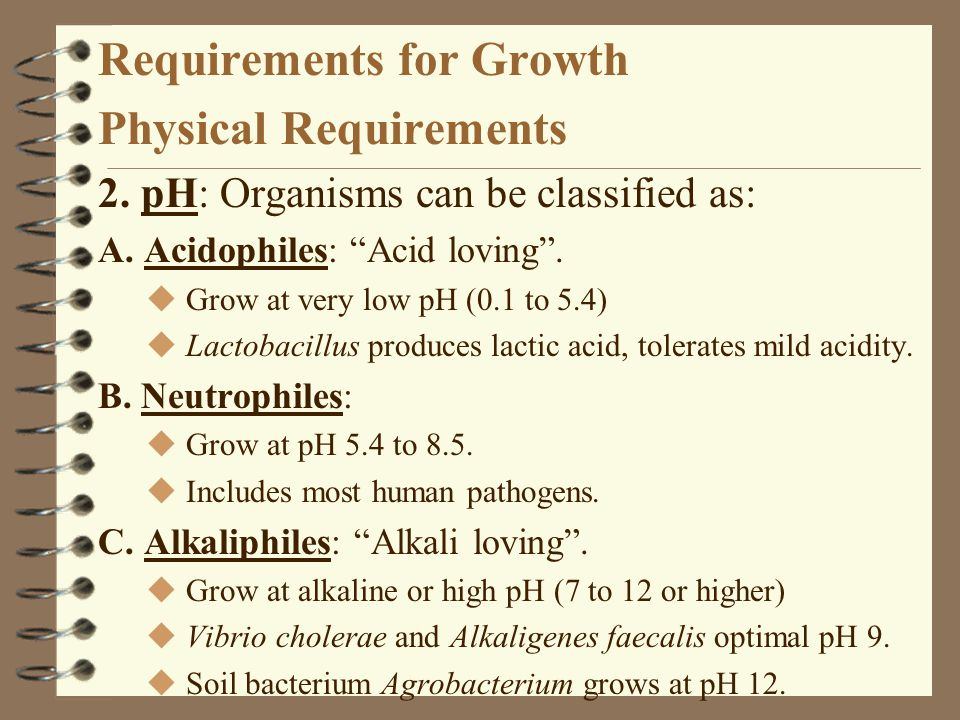 Requirements for Growth Physical Requirements