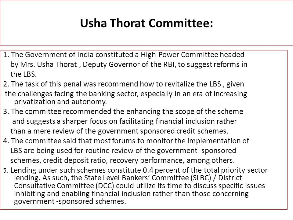Usha Thorat Committee: