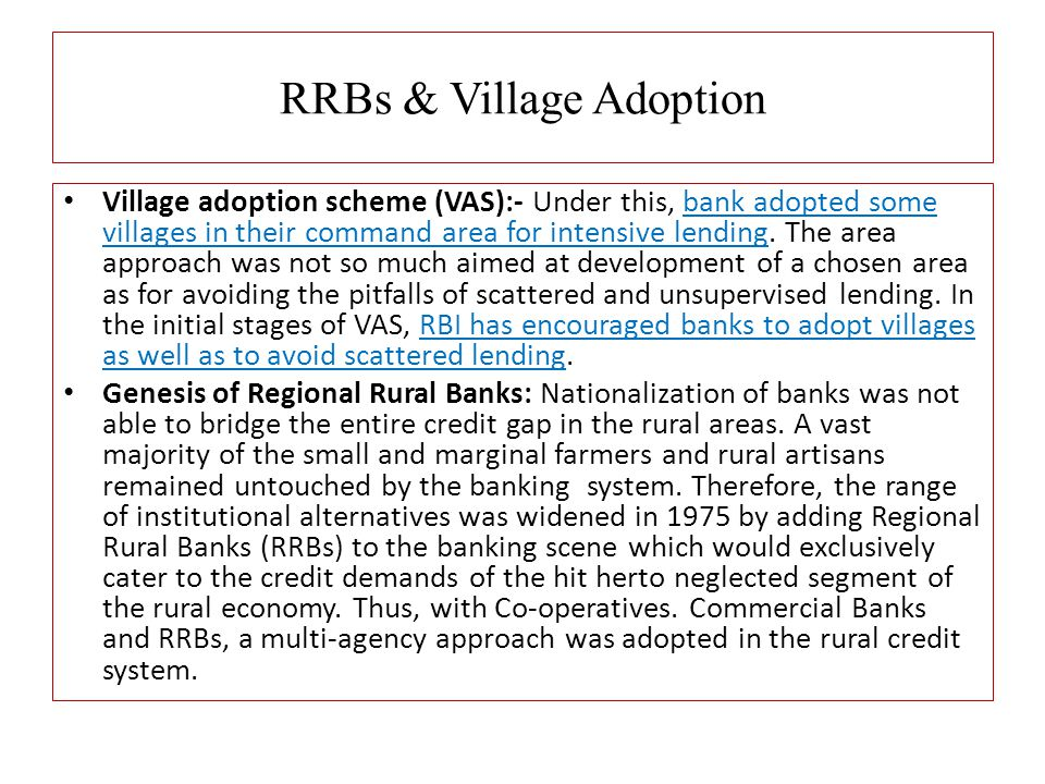 RRBs & Village Adoption