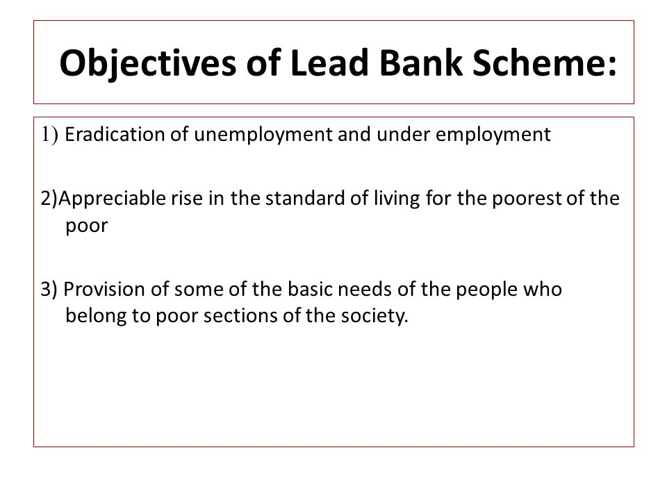 Objectives of Lead Bank Scheme: